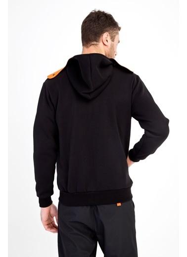 Kiğılı Kapüşonlu Asimetrik Sweatshirt Siyah